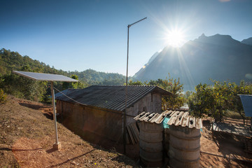 Solar panels on tribal house