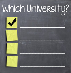 Choosing university on blackboard