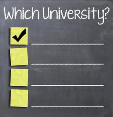 Choosing university on blackboard