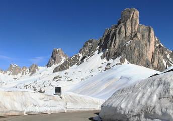 Dolomites alpine scenery at Passo Giau, Italy