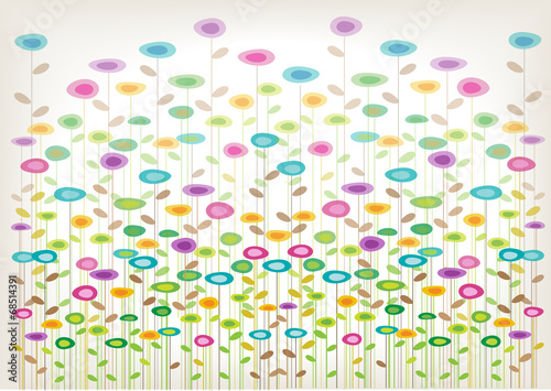 Obraz na Szkle color vector flowers background