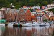 canvas print picture - Famous Bryggen street in Bergen - Norway