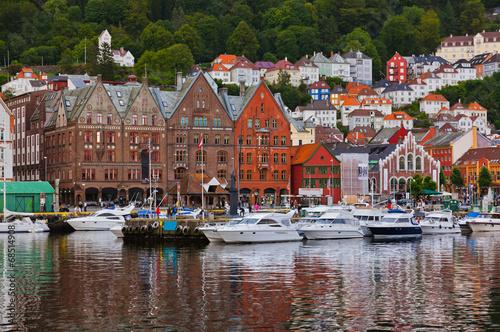 canvas print picture Famous Bryggen street in Bergen - Norway
