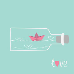 Origami paper boat and heart wave inside wine bottle. Love card.