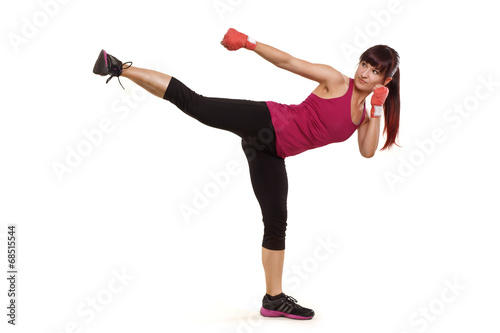 canvas print picture junge schöne Frau beim Kampfsport
