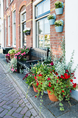 Pots with flowering plants in a Dutch street