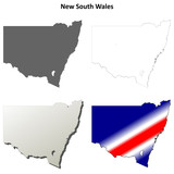 New South Wales blank detailed outline map set
