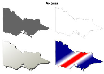 Victoria blank detailed outline map set