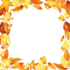 watercolor leaves square frame. Vector