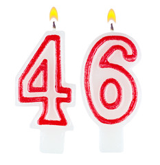 Birthday candles number forty six isolated on white background