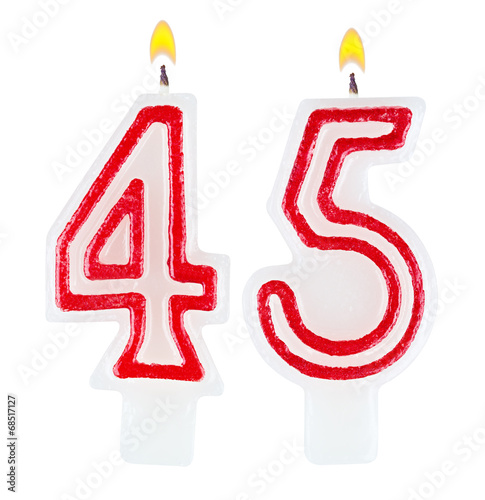 Birthday candles number forty five isolated on white background Poster