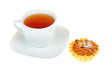 cup of tea and cake isolated on white background