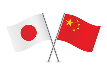 Japanese and Chinese flags. Vector illustration.