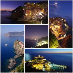 Cinque Terre villages of Italy coast collage photos