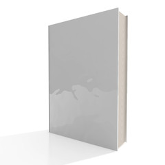 3d Blank glossy book cover isolated on white background