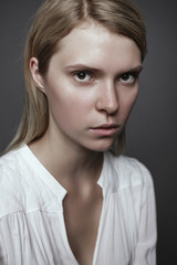 portrait of a beautiful blonde without makeup