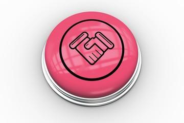 Handshake graphic on  pink button