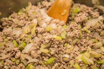 Cooking Ground Beef Celery and Onions