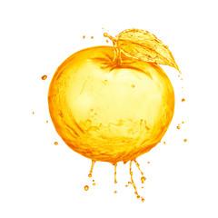 orange with splash isolated on white background