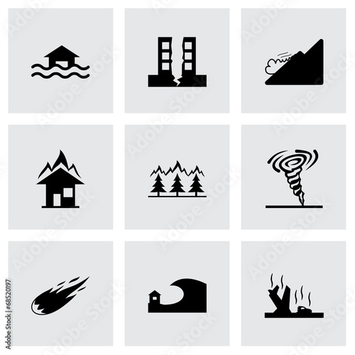 Vector black disaster icons set - 68520197