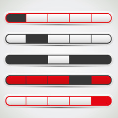 Navigation bar set with red, white and black colors