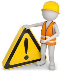 Bauarbeiter Schild mit ausrufezeichen