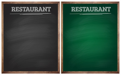 isolated blank black and green restaurant blackboards or chalkbo