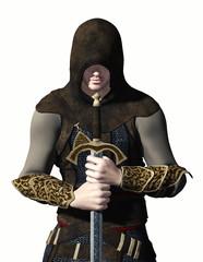 cavaliere con spada su sfondo bianco