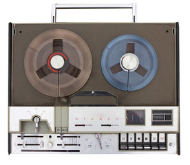 portable old stereo tape recorder with handle