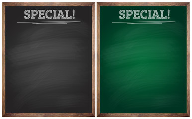 isolated special black and green blackboards or chalkboards