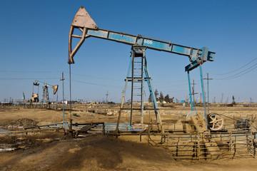 Oil derrick ,petroleum field, Azerbaijan, Baku, Absheron