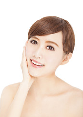 pretty young woman with skin care and  cosmetic concept