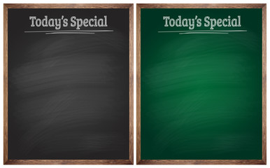 isolated today's special black and green blackboards or chalkboa