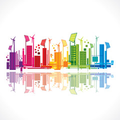 colorful eco-friendly city background design