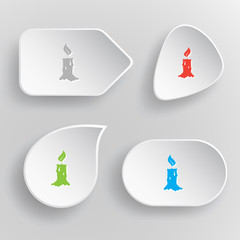 Candle. White flat vector buttons on gray background.