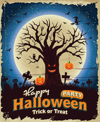 Vintage Halloween poster set design with monster tree