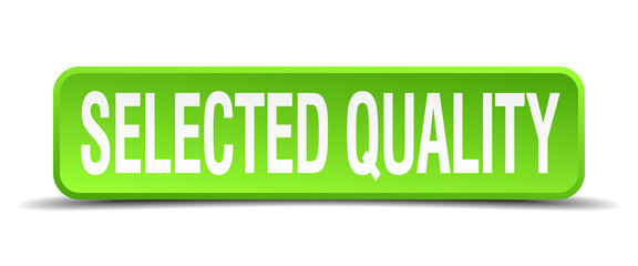 selected quality green 3d realistic square isolated button