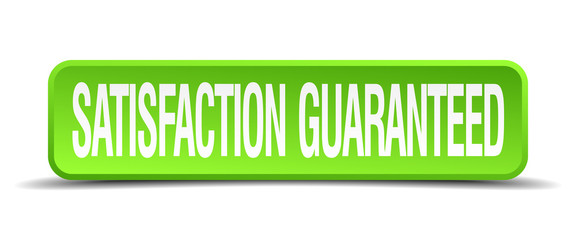 satisfaction guaranteed green square isolated button