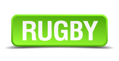 rugby green 3d realistic square isolated button