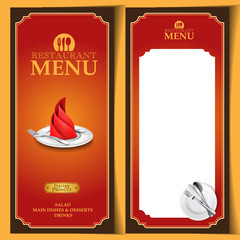 menu restaurant dinner