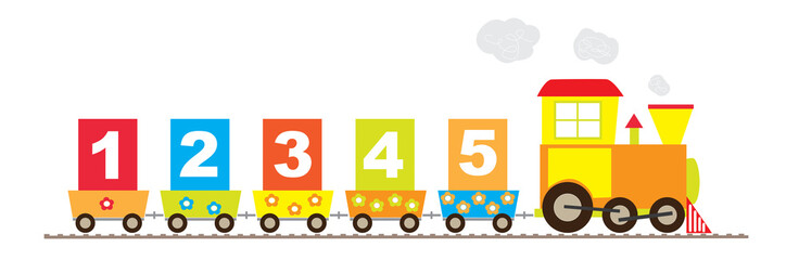 1-5 numbers, math train - vectors for children