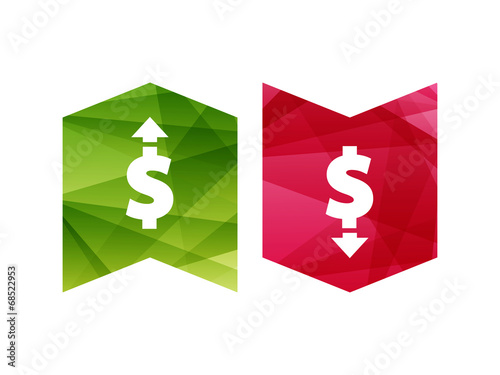Dollar up and down sign icon vector currency concept