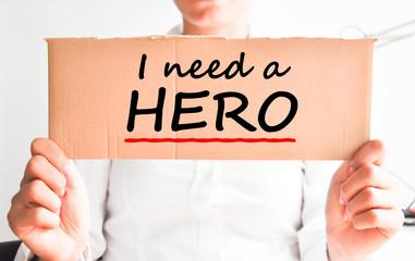 I need a hero text on cardboard
