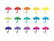Set of rainbow spectrum colorful umbrellas