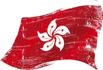 waving Hong Kong grunge flag