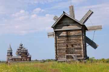 Windmill and Kizhi Pogost in Karelia, Russia
