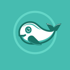 Vector whale emblem in flat style