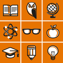 Vector education concepts in flat outline style