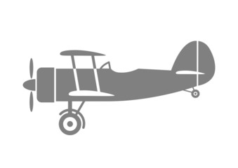 Grey aircraft icon on white background