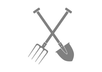 Grey spade and pitchfork on white background